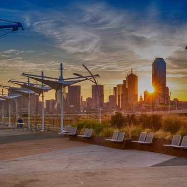 Photo of downtown Dallas in the morning. Sunrise moment. Dusk.